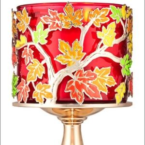 🍁 Fall leaves three wick candle holder